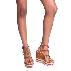 Shoes - Tan suede wedges studded rope trim 7